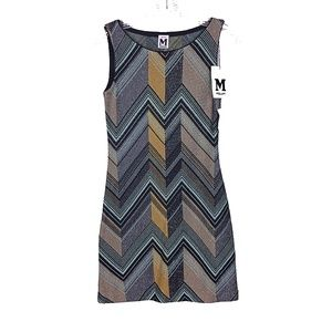 Vintage NWT Missoni Wool Chevron Mini Dress Italy